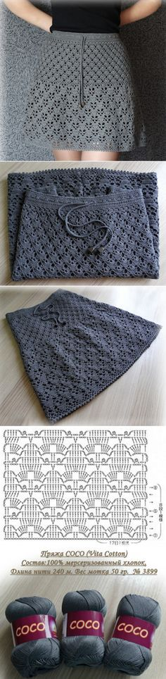 Skirt crochet pattern fabrics Ideas for 2019 Mode Crochet, Crochet Wool, Crochet Motif, Crochet Stitches, Crochet Skirts, Crochet Clothes, Knitted Skirt, Crochet Unicorn Blanket, Knitting Patterns