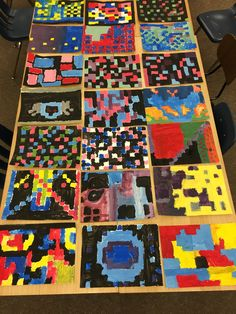Abstract grid painting lesson K-5