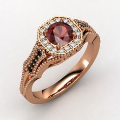 Round Red Garnet 14K Rose Gold Ring with Diamond & Black Diamond - Perspective