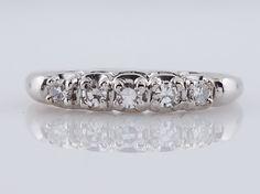 Vintage Wedding Band Mid-Century .30cttw Single Cut Diamonds in 14k White Gold -FILIGREE JEWELERS MINNEAPOLIS