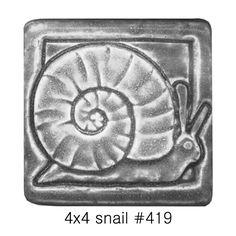Whistling Frog Tile Company Snail 4x4 Tile 419, Artistic Artisan Designer Tiles