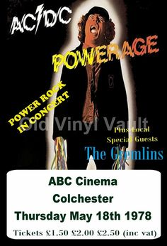 AC/DC  Concert Poster ABC Cinema Colchester UK 1978 A3 size reproduction. | eBay