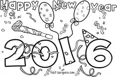 Printable happy #newyear #2016 coloring pages for kids.free online print out #happy new year 2016 coloring pages for kids.new year activities worksheets clipart for kids.new year 2016 clipart.fargelegge tegninger,väritys sivut,farvestoffer side godt nyttå