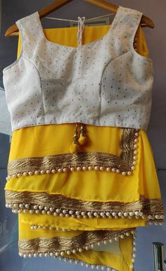 Yellow Saree Blouse Indian ethnic designer exclusive georgette made to order new sari blouse petticoat for women and girls Mirror Work Saree Blouse, White Saree Blouse, Indian Blouse, Dress Indian Style, Indian Fashion Dresses, Lace Saree, Peplum Blouse, Indian Wear, Sari Blouse Designs