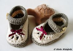 Babyschuhe Ballerinas gehäkelt von strickliene auf DaWanda.com