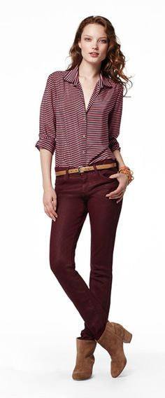 red coated skinny ankle jean