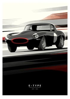New Jaguar Racing Prints From Guy Allen Are Available In The Shop New Jaguar, Jaguar E Type, Art Deco Posters, Car Posters, Car Drawings, Abstract Drawings, Art Deco Car, British Sports Cars, Car Illustration