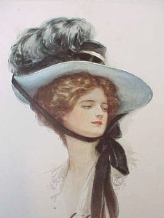 Rare Gibson Girl Prints Paintings | Charming Old Harrison Fisher Print of Gibson Girl in Huge Blue Hat