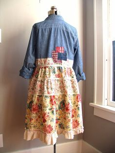 Upcycled Clothing Upcycled Dress Tunic Shabby by BentEdgeAlchemy