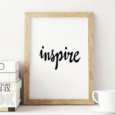 Inspire http://www.notonthehighstreet.com/themotivatedtype/product/inspire-black-and-white-typography-print @notonthehighst #notonthehighstreet