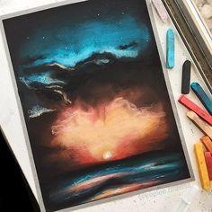 Sunset pastel drawing