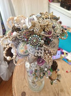 Pearl and silver vintage style brooch bouquet