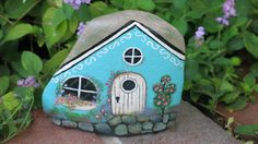 Painted rock, fairy Garden Cottage rock, miniature garden cottage for fairy garden