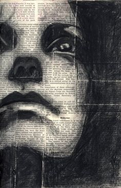 drawing - charcoal on newspaper. What a great effect! Notice how the print adds to the contrast. Must try this. During WWII , teachers used newsprint for art projects.