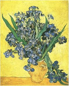 Still Life: Vase with Irises Against a Yellow Background ~ Painting, Oil on Canvas  Saint-Rémy: May, 1890  Van Gogh Museum  Amsterdam, The Netherlands, Europe  F: 678, JH: 1977