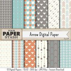 Arrow Digital Paper Tribal Digital Paper Hipster by YourPaperStash