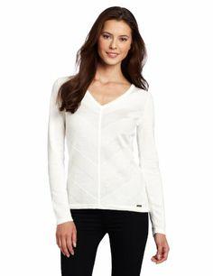 $79.50 nice Calvin Klein Women's MSY Stripe V-Neck Pullover Sweater