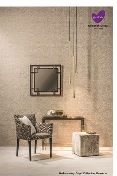 """Wallcoverings made with are the eyecatchers in the collection """"Capiz"""" of Neoclassical, Your Space, Oversized Mirror, Dining Chairs, Wallpaper, Shells, Furniture, Organic, Home Decor"""