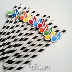 Music notes on straws.  We could get the kids size solo cups and use these for the straws?