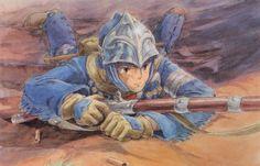 Ilustración original de 'Nausicaä del Valle del Viento' (Hayao Miyazaki, 1984)