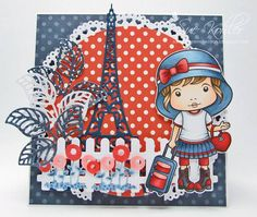 From our Design Team! Card by Suzanne Kohler featuring Travel Marci and these Dies - Heart Doily Border, Open Leaf flourish, Picket Fence, Whimsical flowers bunch, Eiffel Tower :-) Shop for our products here - http://lalalandcrafts.com Coloring details and more Design Team inspiration here - http://lalalandcrafts.blogspot.ie/2014/07/inspiration-friday-be-inspired.html