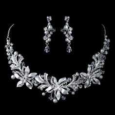 Elegance by Carbonneau Silver Diamond White Pearl, Rhinestone & Swarovski Crystal Bead Floral Jewelry Set Wedding Earrings Drop, Bridal Necklace, Bridesmaid Jewelry Sets, Wedding Jewelry Sets, Swarovski Crystal Beads, Crystal Wedding, Silver Diamonds, Jewelry Trends, Bridal Accessories