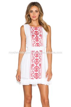 Best selling New Moroccan Style Sexy Boho Latest Embroidered Front Ruffel Hem White Woven Peasant Tunic Dress Top for Women