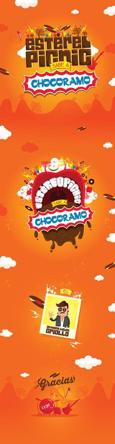 Estéreo Picnic sabe a Chocoramo by Iaam Adriana Amaya, via Behance Advertising Design, Picnic, Behance, City, Illustration, Movie Posters, Rest, Bar, Logo