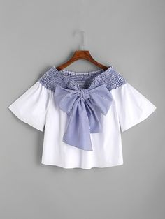 SheIn offers White Contrast Striped Bow Tie Shirred Top & more to fit your fashionable needs. Stylish Dresses For Girls, Stylish Dress Designs, Designs For Dresses, Baby Girl Dresses, Indian Fashion Dresses, Girls Fashion Clothes, Teen Fashion Outfits, Crop Top Outfits, Cute Casual Outfits