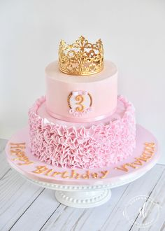 Ruffle Princess Cake - Sugar and Bloom Cake Company Princess First Birthday, Princess Theme Birthday, Princess Party Cupcakes, Pink Princess Cakes, Princess Crown Cake, Disney Princess Birthday Cakes, Pink Princess Party, Princess Party Favors, 3 Year Old Birthday Cake