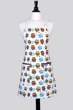 Unisex Chef Apron - Whimsical Perched Owls on Lightweight Washable Cotton Canvas with Adjustable Neck Full Kitchen Apron with Pockets