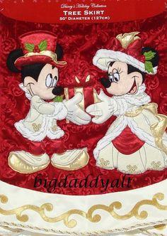 NEW Disney Parks Victorian Mickey And Minnie Christmas Tree Skirt