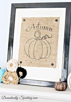 Burlap Autumn Pumpkin Sign