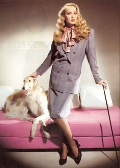 The 80's power suit on Jerry Hall