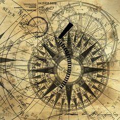 Steampunk compass art print