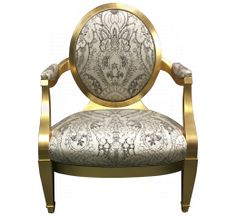 Donghia Gold Leaf Velvet Grand Soliel Chair Front
