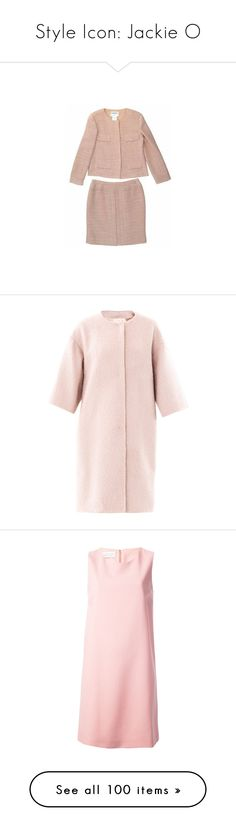 """Style Icon: Jackie O"" by youmaycallmejuju ❤ liked on Polyvore featuring suits, dresses, jackets, suit, chanel, outerwear, coats, light pink, wool swing coat and light pink wool coat"
