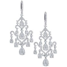 Bessa Pav& Diamond Chandelier Earrings in 18K White Gold (232.973.940 IDR) ❤ liked on Polyvore featuring jewelry, earrings, diamond earrings, 18k diamond earrings, teardrop chandelier earrings, white gold chandelier earrings and white gold dangle earrings