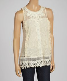 Taupe Sheer Embroidered Scoop Neck Tank by Banana U.S.A. #zulily #zulilyfinds