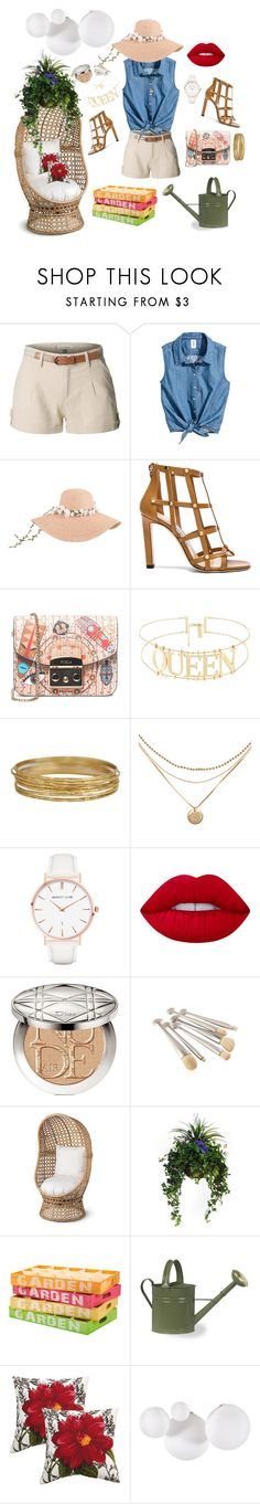 """""""Garden view"""" by miho-banna ❤ liked on Polyvore featuring LE3NO, Jimmy Choo, Furla, Abbott Lyon, Lime Crime, Christian Dior, Improvements, Plantation Patterns and Artemide"""