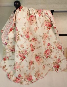 Portia Cottage Rose Floral Chic Shabby Quilt Throw