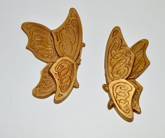 Butterfly Wall Hangings Pair of Butterflies Vintage by WVpickin
