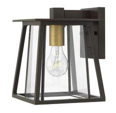 "Hinkley Lighting 2106 1 Light 9.25"" Tall Lantern Wall Sconce with Clear Glass Sh Buckeye Bronze Outdoor Lighting Wall Sconces Outdoor Wall Sconces"