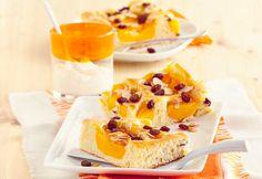 Pfirsich-Rosinen-Blechkuchen mit Marzipan <3