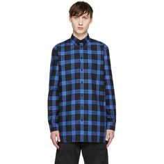 Givenchy Black and Blue Flannel Check Shirt (775 PEN) ❤ liked on Polyvore featuring men's fashion, men's clothing, men's shirts, men's casual shirts, mens long sleeve shirts, givenchy mens shirt, mens casual button up shirts, mens casual long sleeve shirts and mens blue flannel shirt