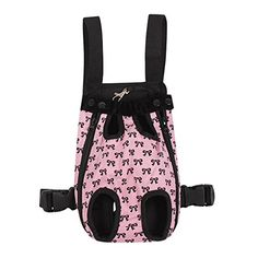 FakeFace Fashion Bowknots Pattern Pet Dog Doggy Sling Legs Out Design Outdoor Travel Durable Portable Front Chest Pack Carrier Backpack Shoulder Bag For Dogs Cats Puppy Carriers Pet Tote Bag  PinkXL -- Read more reviews of the product by visiting the link on the image.(This is an Amazon affiliate link and I receive a commission for the sales)