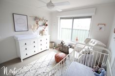 Modern, white and cream nursery