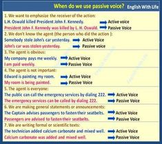 Phrases - When do we use Passive Voice? English Tips, English Lessons, Learn English, Education English, Teaching English, English Teachers, English Grammar Tenses, English Language, Picture Story Writing