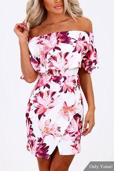 Random Floral Print Off Shoulder Tiered Dress
