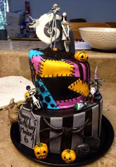Nightmare Before Christmas Cake This is also what we wanted -- sally patchwork and jack's pinstripe!